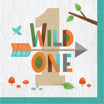 Creative Party Woodland Animals Servetten (Wild One) - 16 stuks - Bosdieren feestartikelen en versiering