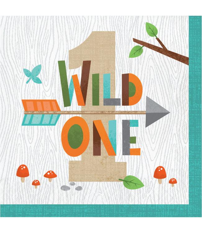 Creative Party Woodland Animals Servetten (Wild One) - 16 stuks - Bosdieren feestartikelen en versiering