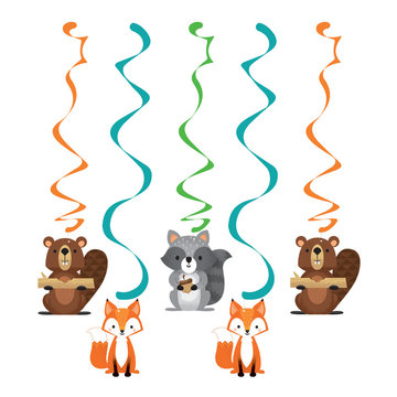 Creative Party Woodland Animals Hangdecoraties - 5 stuks - Bosdieren feestartikelen en versiering