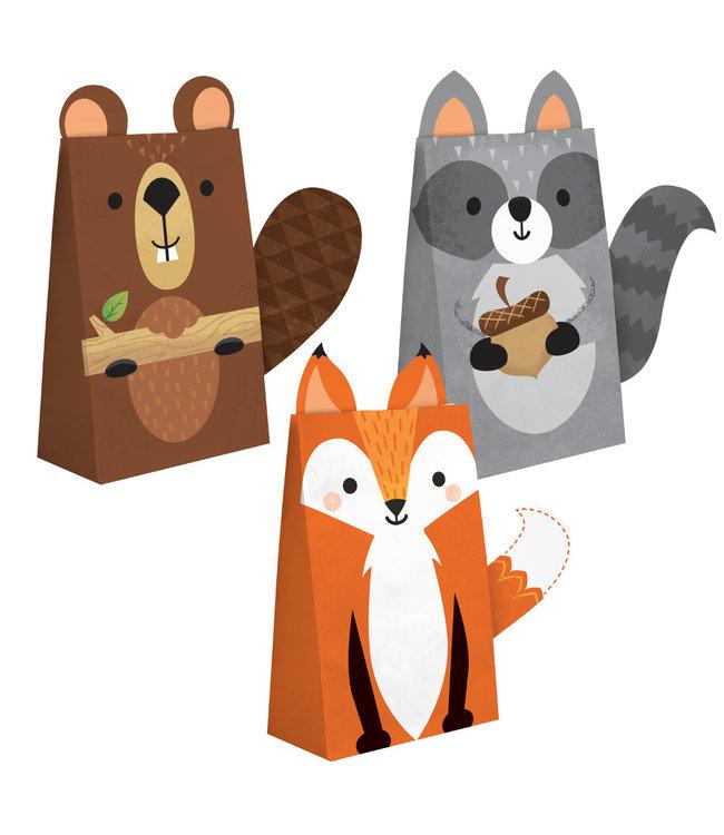 Creative Party Woodland Animals Uitdeelzakjes - 8 stuks - Bosdieren feestartikelen en versiering