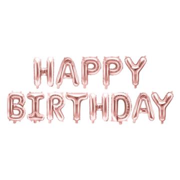 Partydeco Letter Folieballonnen 'Happy Birthday' Roségoud - per set