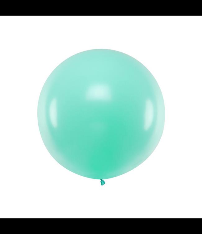 Partydeco Jumbo Ballon Pastel Mint - per stuk - Ronde ballonnen 100 cm