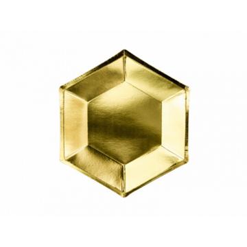 Partydeco Gouden Bordjes Hexagon - 6 stuks - 20 cm