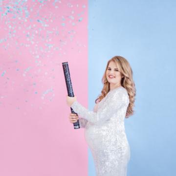 Partydeco Gender Reveal Confetti Kanon XL Blauw - per stuk - Boy or Girl