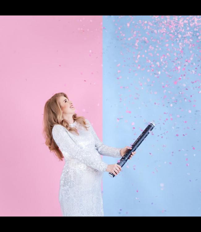 Partydeco Gender Reveal Confetti Kanon XL Roze - per stuk - Boy or Girl
