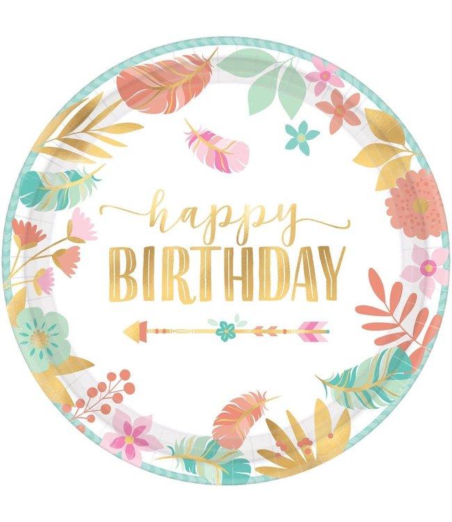 Amscan Boho Birthday Bordjes 'Happy Birthday' - 8 stuks  - Boho Chic verjaardag