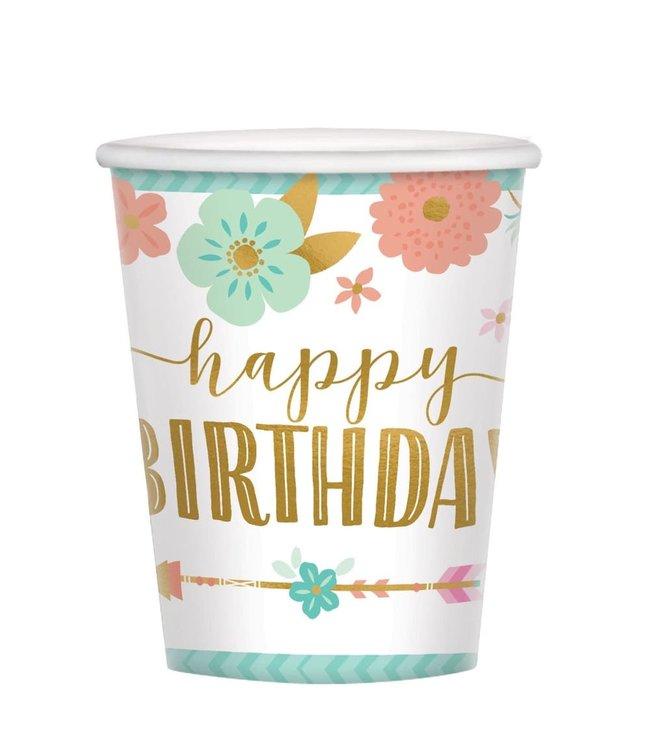 Amscan Boho Birthday Bekers 'Happy Birthday' - 8 stuks  - Boho Chic verjaardag