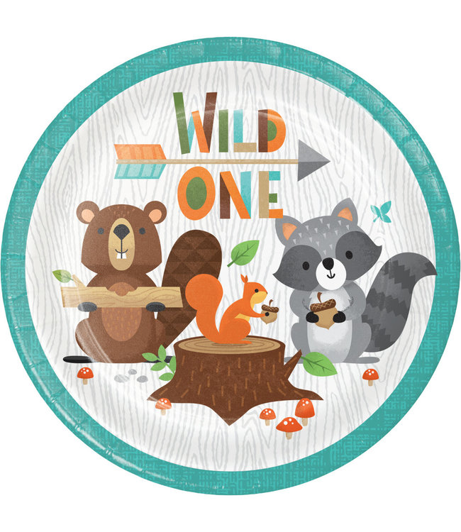 Creative Party Woodland Animals Bordjes (Wild One) - 8 stuks - Bosdieren feestartikelen en versiering