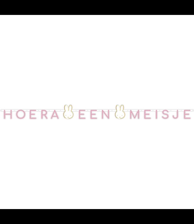 Haza Nijntje Baby Roze letterslinger 'Hoera een Meisje' - per stuk - Feest met nijntje
