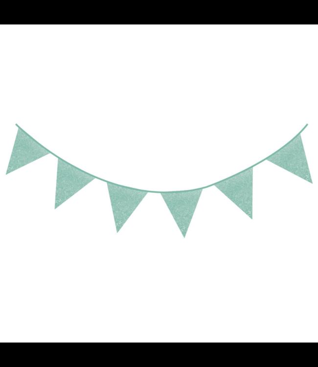 Haza Vlaggenlijn Mint Glitter - 6 meter - Slinger met glitters