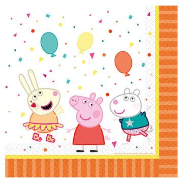 Amscan Peppa Pig Servetten - 16 stuks - Peppa Pig feestartikelen