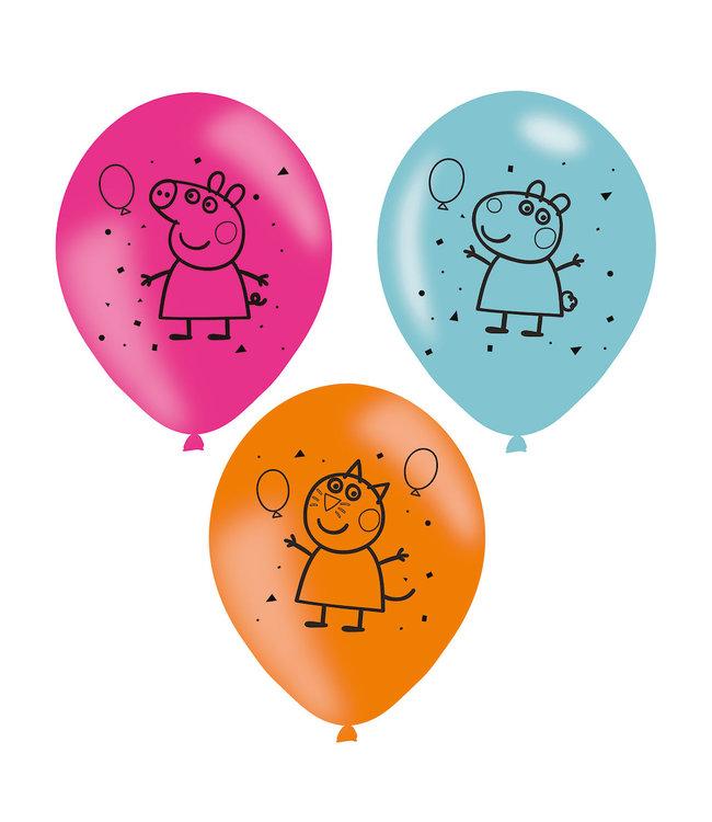 Amscan Peppa Pig Ballonnen - 6 stuks (23 cm) - Peppa Pig feestartikelen