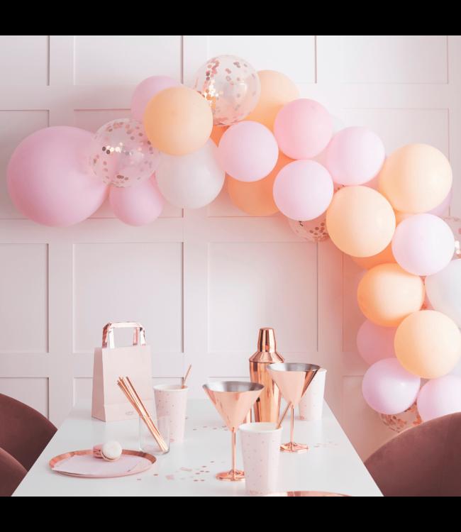 Ginger Ray Ballonnenboog Blush DIY Pakket - per set - Ballon set mat peach, pink en roségoud