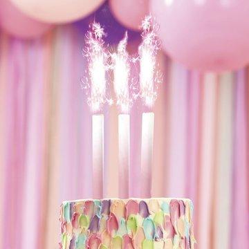 Ginger Ray Taartfonteinen Roze - 3 stuks - Sprankelende taartdecoratie