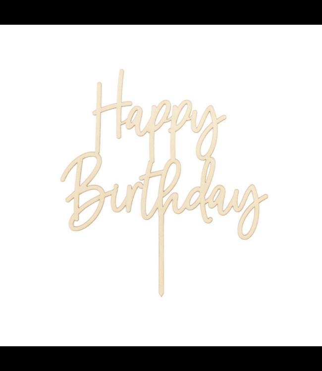 Partydeco Taarttopper 'Happy Birthday' Goud Hout - per stuk - Taart toppers