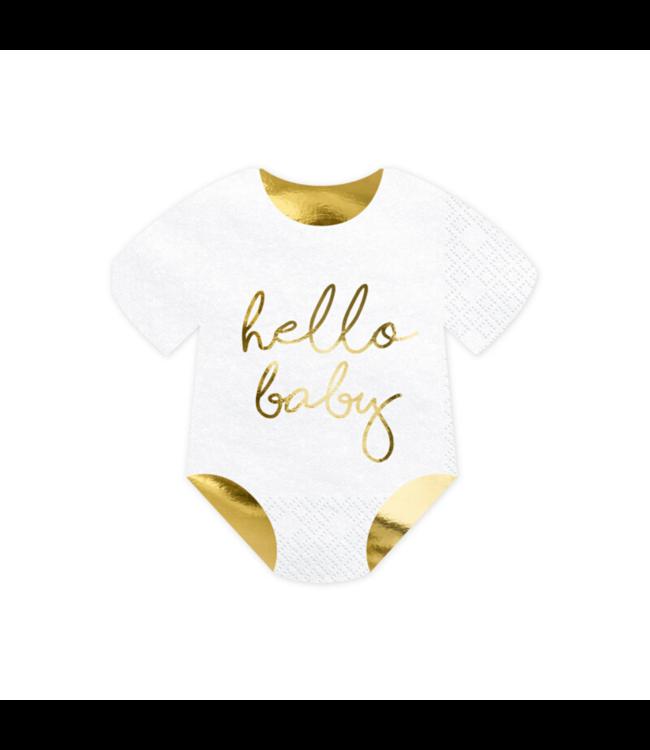 Partydeco Hello Baby Servetten - 20 stuks - Servetten voor een geboortefeestje