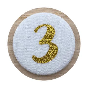 Liezelijn Verjaardagskroon Button Cijfer 3 (Goud) - per stuk