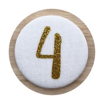 Liezelijn Verjaardagskroon Button Cijfer 4 (Goud) - per stuk