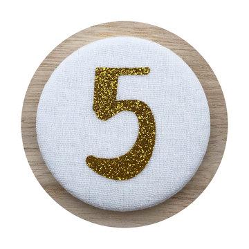 Liezelijn Verjaardagskroon Button Cijfer 5 (Goud) - per stuk