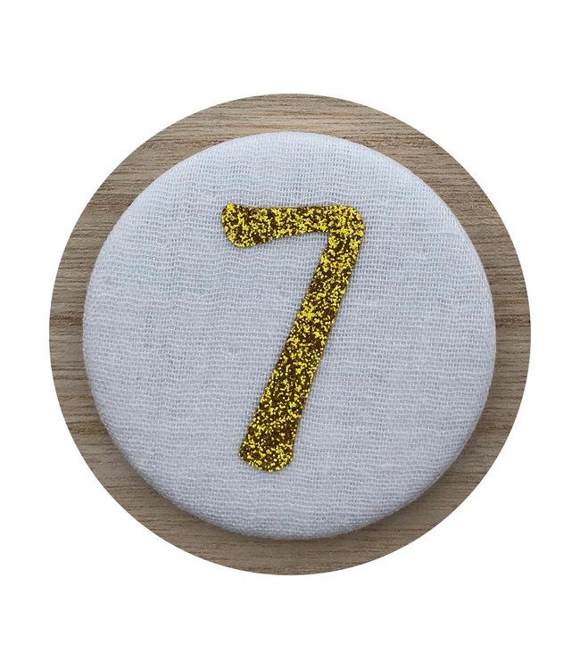 Liezelijn Verjaardagskroon Button Cijfer 7 (Goud) - per stuk