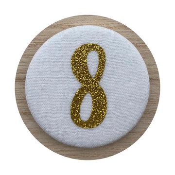Liezelijn Verjaardagskroon Button Cijfer 8 (Goud) - per stuk