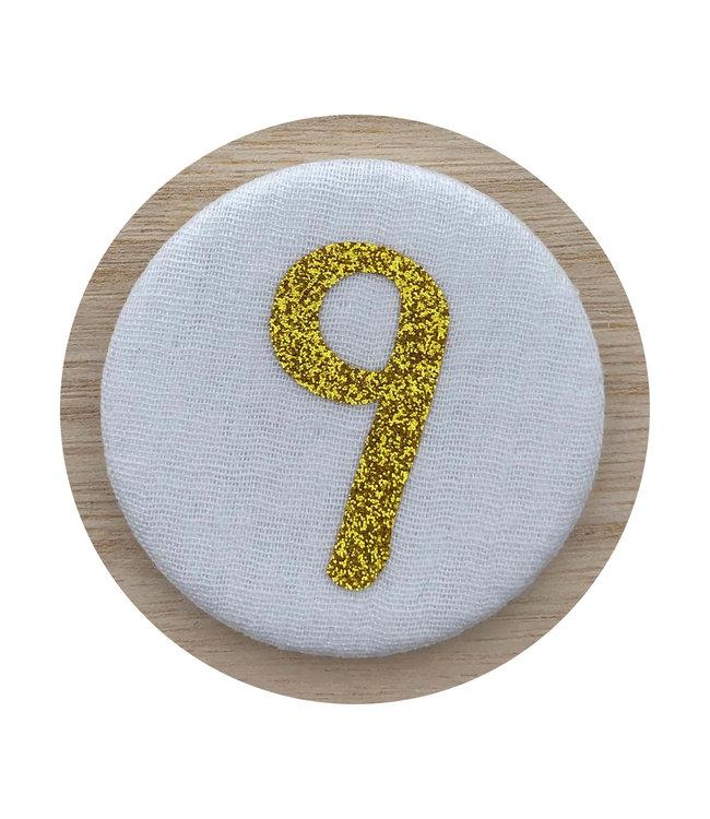 Liezelijn Verjaardagskroon Button Cijfer 9 (Goud) - per stuk