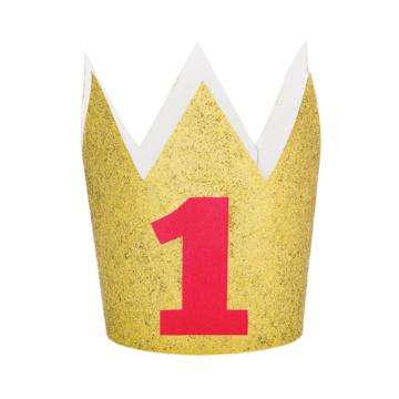 Creative Party Kroontje '1' Goud & Rood - per stuk - Feestkroontje 1 jaar