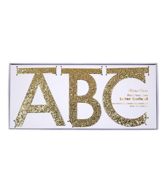 Meri Meri Letterslinger Glitter Goud (DIY) - set van 134 - Maak je eigen slinger