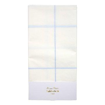Meri Meri Tafelkleed Wit en Blauw (Grid) - per stuk - Papieren tafelkleden
