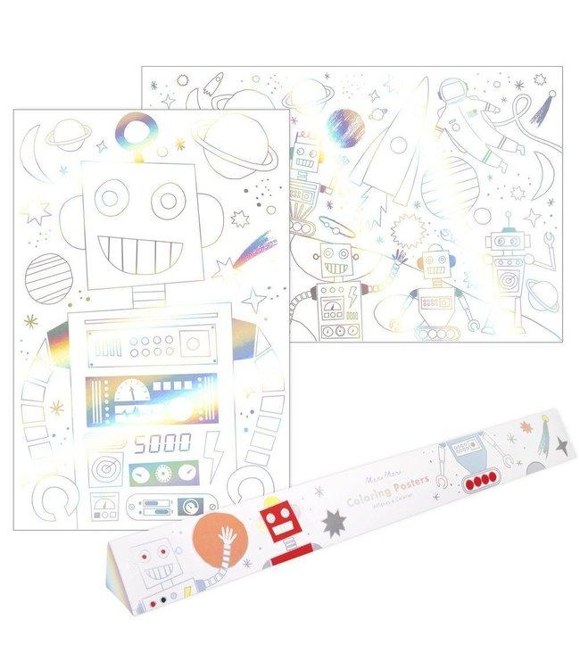 Meri Meri Space en Robot Kleurposters - set van 2 - XL Kleurplaten