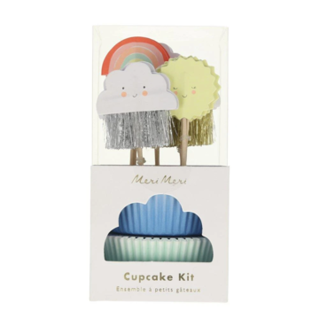 Meri Meri Happy Weather Cupcake Kit - set van 24 - Wolk Regenboog Zon