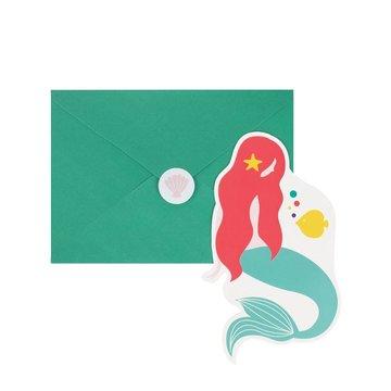 My Little Day Mermaids Uitnodigingen - 8 stuks - zeemeermin feestartikelen