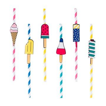 My Little Day IJsjes Rietjes - 12 stuks - Ice Cream Feestartikelen