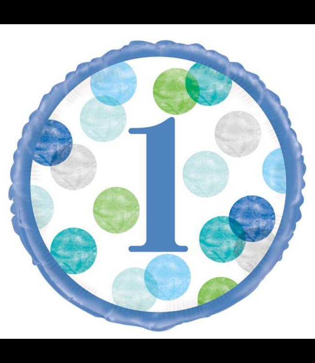 Unique 1 Jaar Dots Blauw Folieballon - per stuk - First Birthday Dots