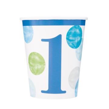 Unique 1 Jaar Dots Blauw Bekers - 8 stuks - First Birthday Dots