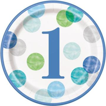 Unique 1 Jaar Dots Blauw Borden - 8 stuks - First Birthday Dots