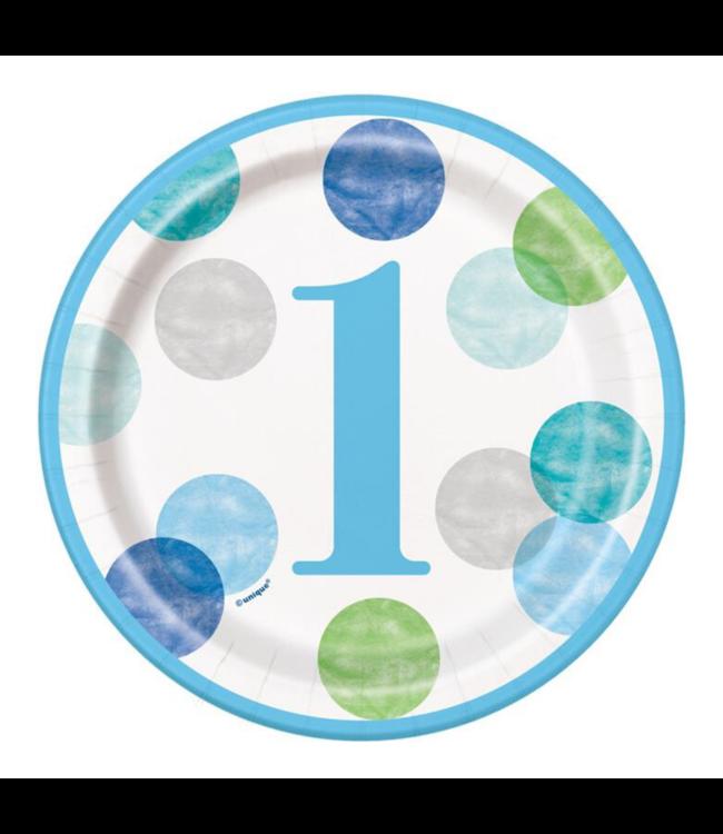 Unique 1 Jaar Dots Blauw Bordjes - 8 stuks - First Birthday Dots
