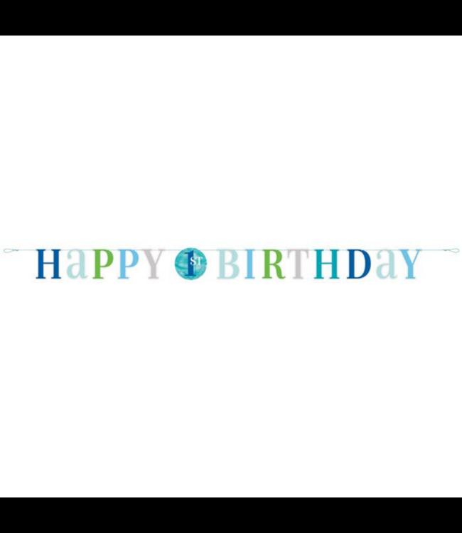 Unique 1 Jaar Dots Blauw Slinger - per stuk - First Birthday Dots