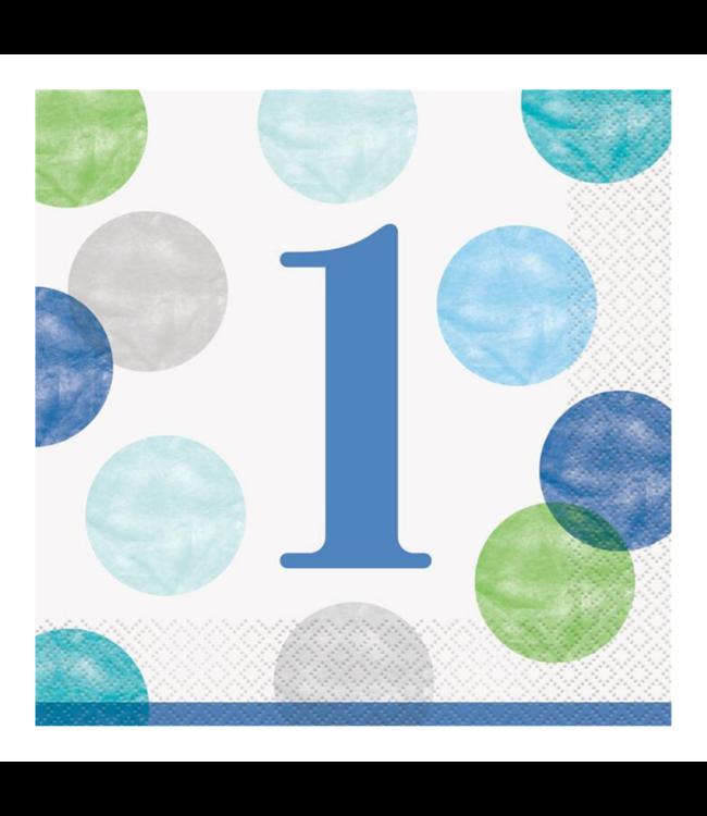 Unique 1 Jaar Dots Blauw Servetten - 16 stuks - First Birthday Dots
