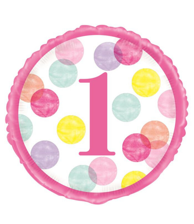 Unique 1 Jaar Dots Roze Folieballon - per stuk - First Birthday Dots