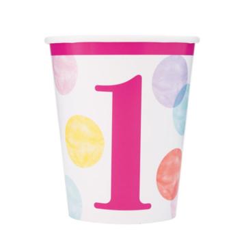 Unique 1 Jaar Dots Roze Bekers - 8 stuks - First Birthday Dots