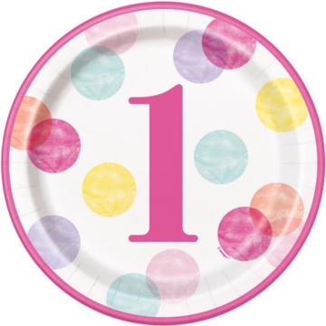 Unique 1 Jaar Dots Roze Borden - 8 stuks - First Birthday Dots