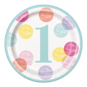 Unique 1 Jaar Dots Roze Bordjes - 8 stuks - First Birthday Dots