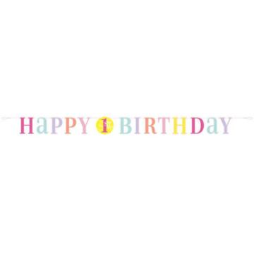 Unique 1 Jaar Dots Roze Slinger - per stuk - First Birthday Dots
