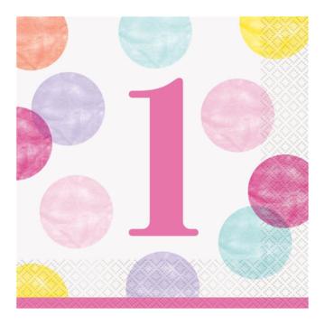 Unique 1 Jaar Dots Roze Servetten - 16 stuks - First Birthday Dots