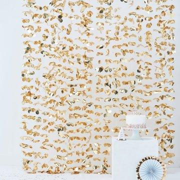 Ginger Ray Feestgordijn Bloemen Goud - per stuk - Deurgordijn en backdrop versiering