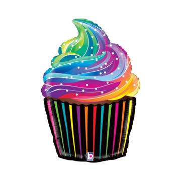Betallic Regenboog Cupcake Folieballon - per stuk - Yummy!