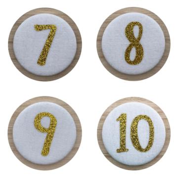 Liezelijn Verjaardagskroon Cijferbuttons 7/8/9/10 (Goud) - per set