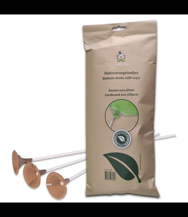 Witbaard Feestartikelen Ballonstokjes + Cups - 25 stuks - Eco Cardboard