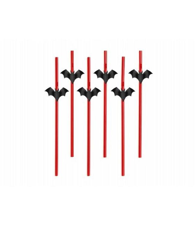 Partydeco Vleermuis Rietjes - 6 stuks - 24 cm